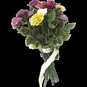 Vintage Porcelain Flowers Roses Carnations 14 Stems