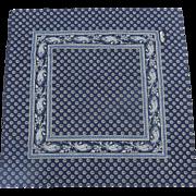 Vintage Les Olivades French Provincial Blue and White Cotton Pierre Deux Scarf