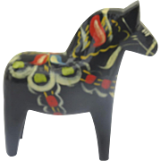 Vintage Hand Painted Dala Horse Black G. A. Olsson