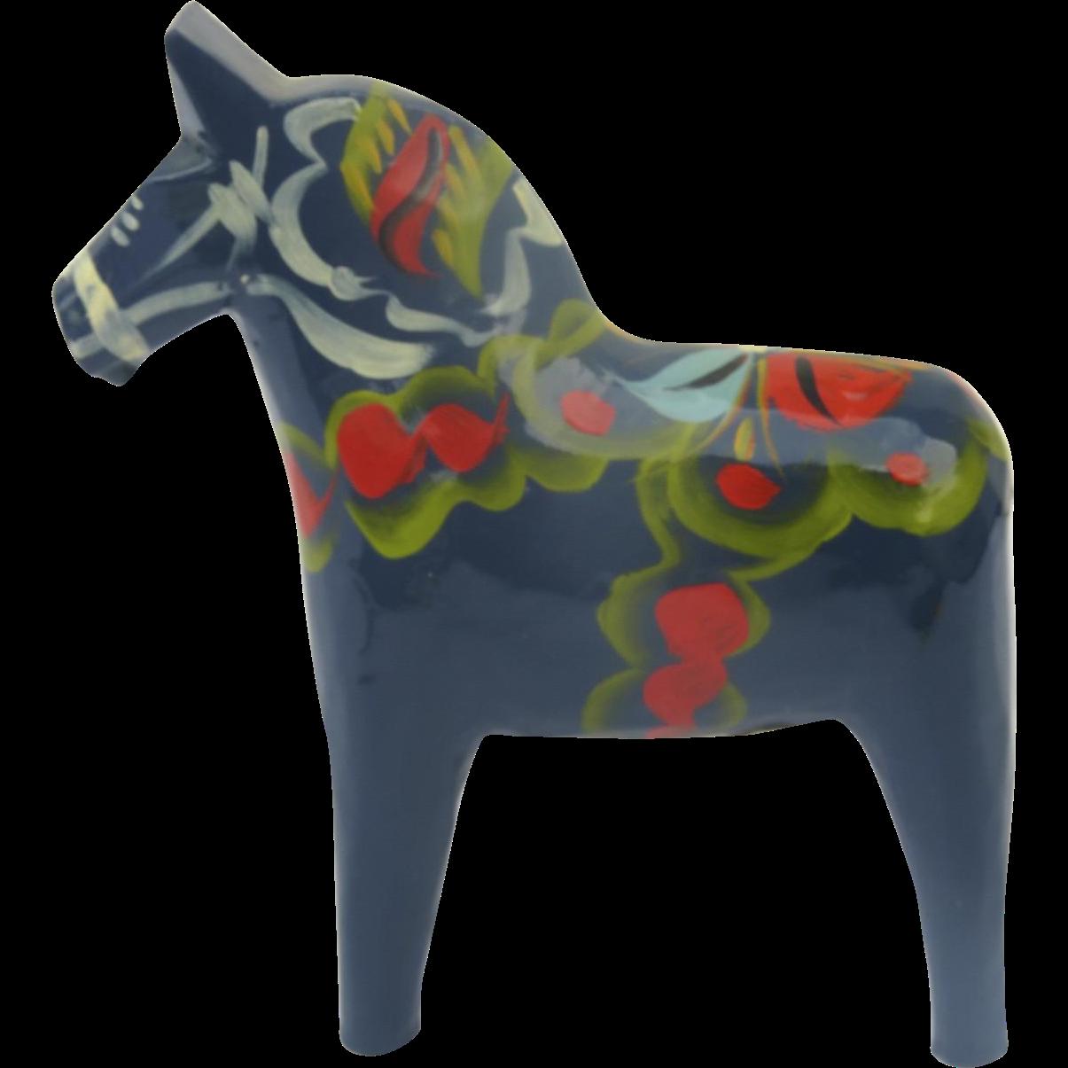 Vintage Hand Painted Dala Horse Blue Nils Olssen