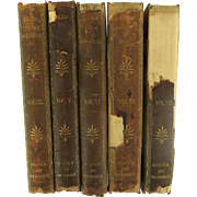 """19th Century Collection of Honore de Balzac's English Translation """"Philosophic & Analytic Studies"""" 5 vol. Leather Spine"""