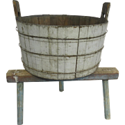 19th Century Wash Bucket on Stand, Mortise & Tenon, Original Blue Paint