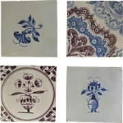 Vintage Delft Tiles Set of 4