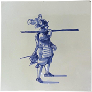 Vintage Delft Tile Soldier in Armor Signed 'CR CK'