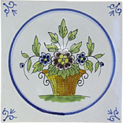 Vintage Ceramic Tile Trivet Made in France French Basket of Flowers