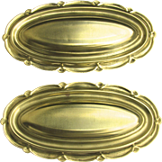 Vintage Pair Shaped Scallop Oval Brass Door Mounts Back Plate