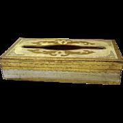 Vintage Italy Italian Florentine Gold White Tissue Kleenex Box