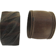 Two Vintage Treen Turned Wood Napkin Rings