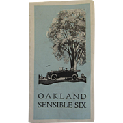 Oakland Motors Sensible Six Car Brochure 1920's