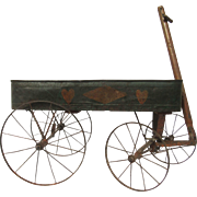Child's tole Green Painted Wagon with Hearts