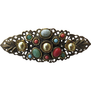 Vintage Filagree Cabochon Multi Stone Pin Faux Pearl