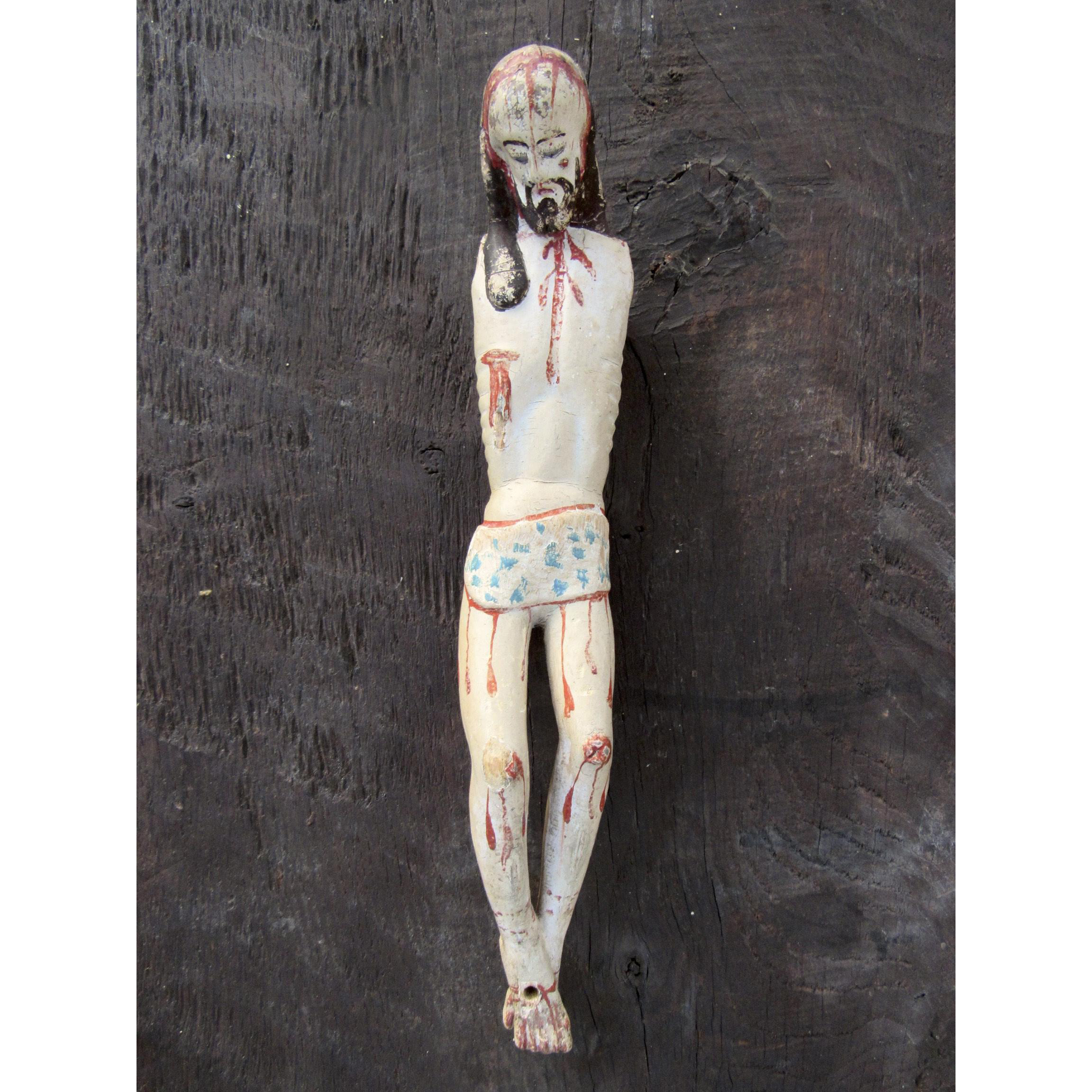 19th Century Spanish Colonial Carved and Painted Jesus Christ with Glass Eyes Santo Folk Art Cristo