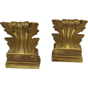 Vintage (1960's) Hollywood Regency Borghese Gilt Acanthus Leaf Bookends