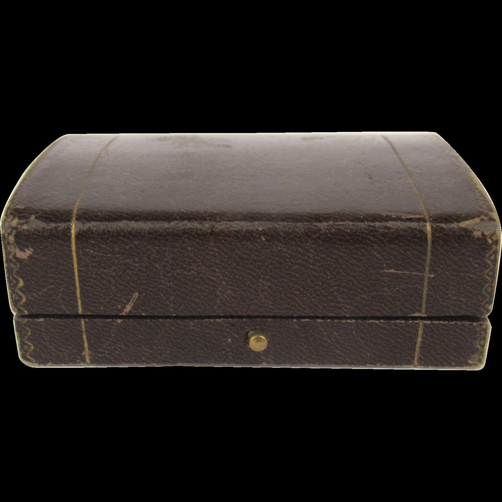 Vintage Florentine Mini Jewelry Ring Box Tooled Leather Gilt