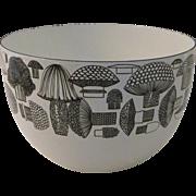 Kaj Franck Arabia Finland Finel Bowl Enamel Black White Mushrooms Mid Century