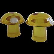 2 x Mid-century Modern Acrylic Lucite Mushroom Paperweights  Daisyglas Mod 70's