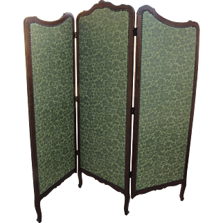 Late 19th Century French Walnut Three Part Fold Screen Room Divider