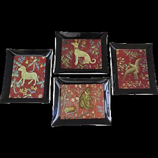 Vintage Set of Four (4) Cluny Tapestry Dog Sheep Bird Monkey Dishes Coasters