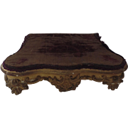 Small French Wood Gilt Plateau Stand Display with Velvet Top 19th Century