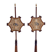 Pair od English Regency Rosewood Pole Screens