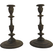 19th Century Pair of Turned Wood Candlesticks