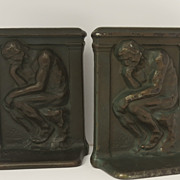 "Pair of Cast Iron ""Thinker"" Bookend 1926"