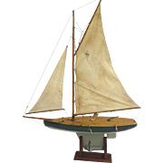 Vintage Wooden Pond Yacht Gaft Rig c 1920 Sail Boat with Stand