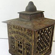 Cast Iron Bank with Hinge for Coin Deposit