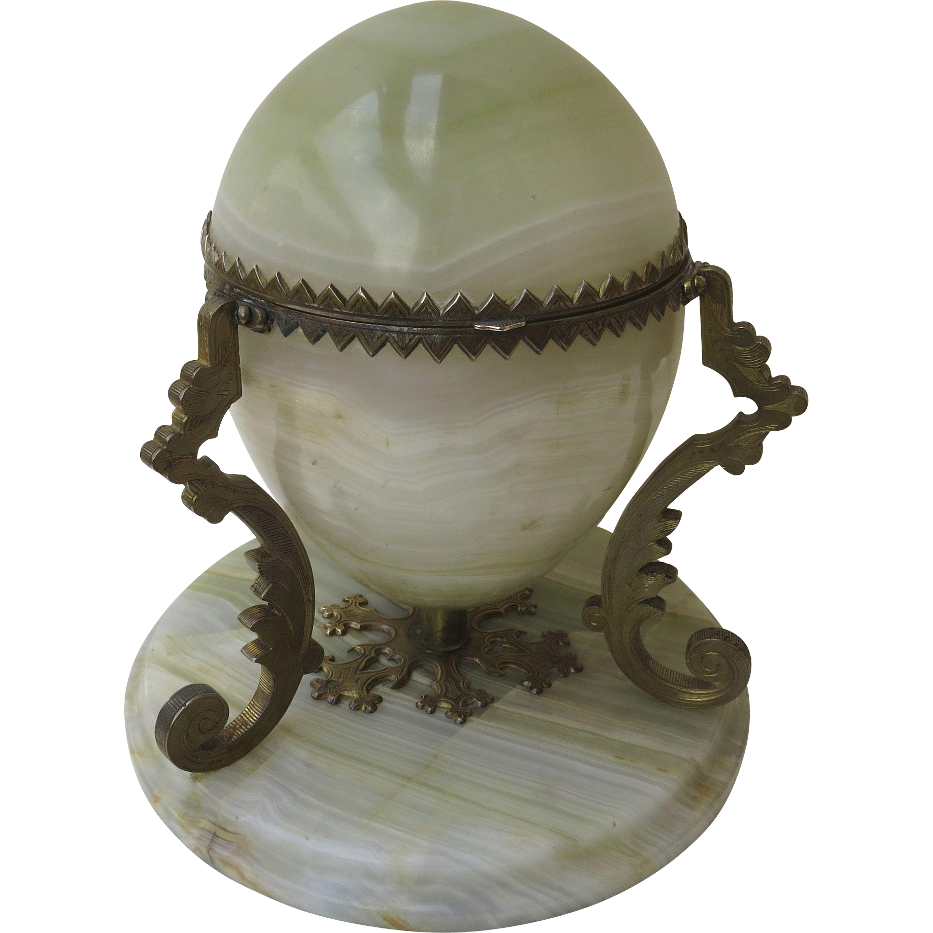 French Alabaster Lidded Egg with Ormolu Mounts