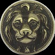 19th Century Lion Brass Pull Knob Wonderful Patina