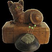 19th Century Souvenir Pin Box Pin Cushion Cat Top Hat