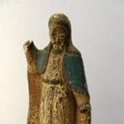 Philippine carved Santo with painted cape