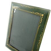 Vintage Italian Green Leather Gold Tooled Picture Frame