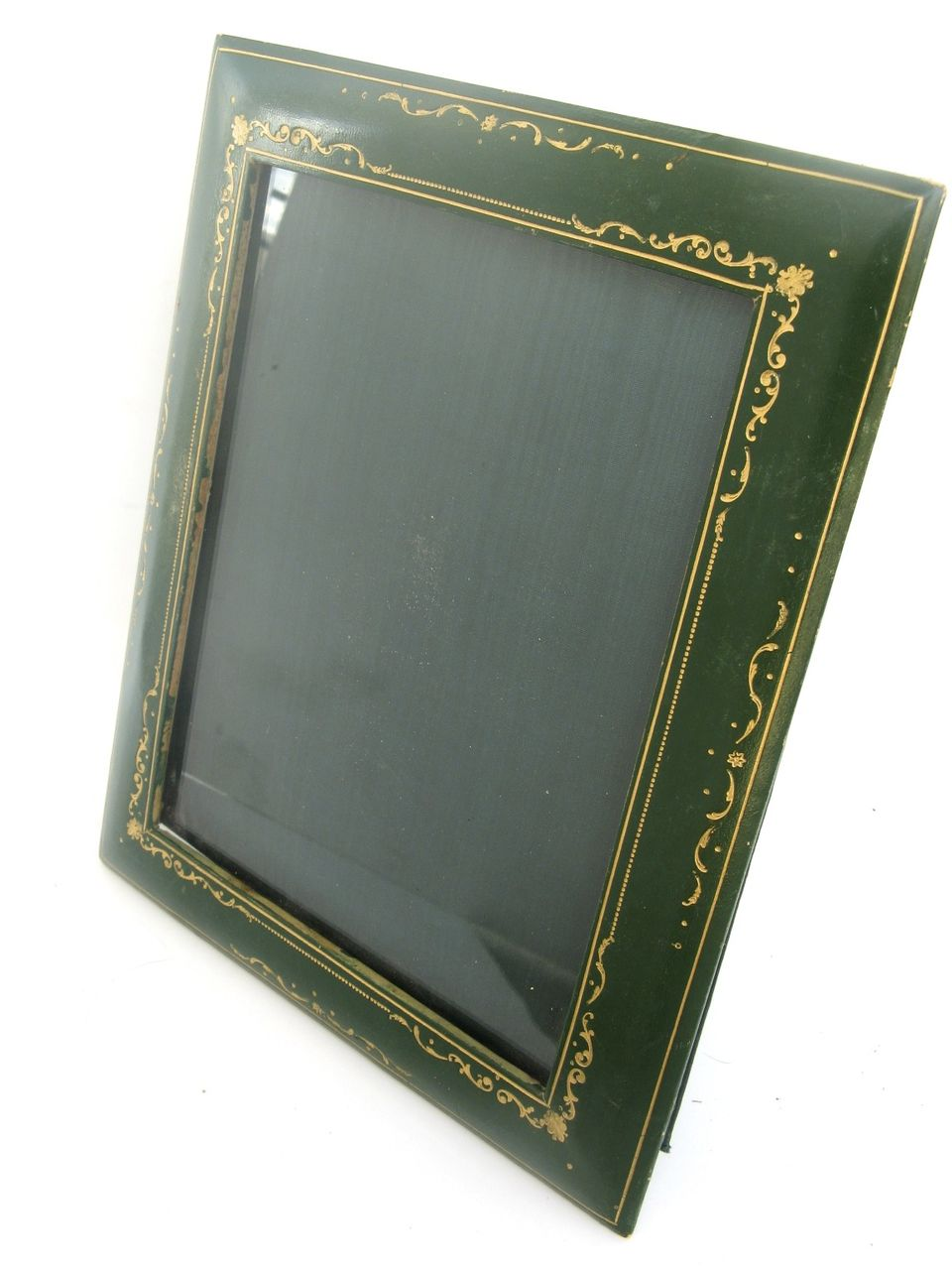 Vintage Italian Green Leather Gold Tooled Picture Frame : Black ...
