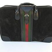 Vintage Black Suede Suitcase Luggage Green and Red Stripe