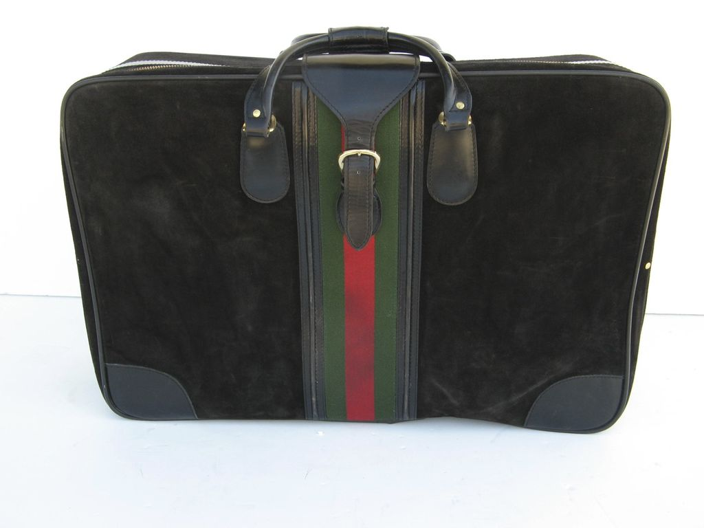 Vintage Black Suede Suitcase Luggage Green and Red Stripe from ...