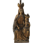 Carved and Painted Vintage Madonna and Child Santo