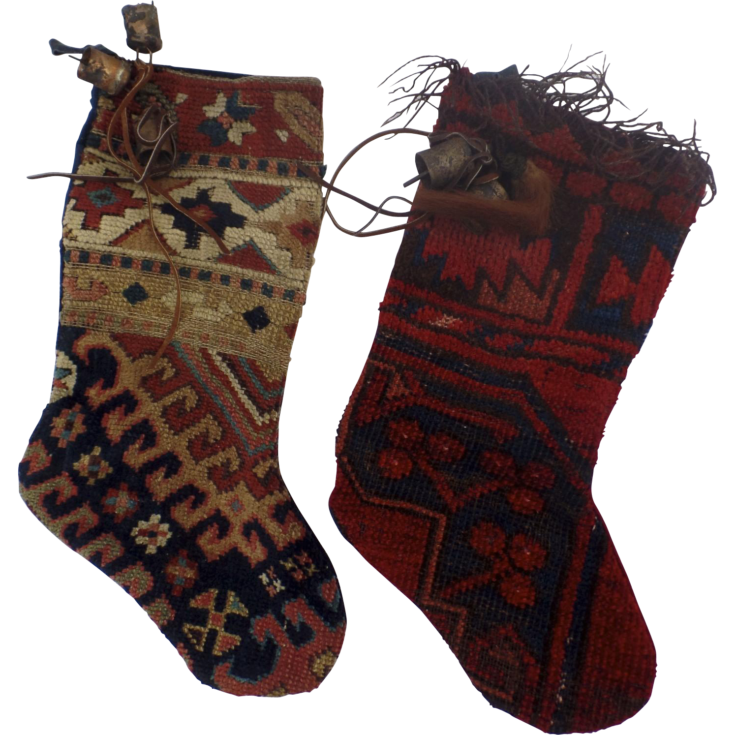 2 X Very Cool Christmas Stockings Made From Old Kilim Rug