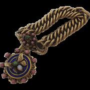 Vintage Charm Bracelet Locket Butterfly Blue Enamel