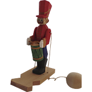 Vintage Painted Wooden Wood Hand Made Motion Moving Pull Toy Soldier Drummer