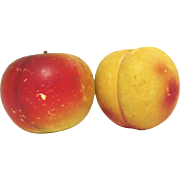 Vintage Italian Carved Marble Alabaster Stone Fruit Apple and Peach