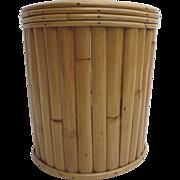 Vintage Bamboo Trash Waste Can Basket 1960's