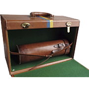 Vintage Traveling Portable Bar Suitcase Trunk Liquor Leather Fold Down Front Cocktail Shaker Leather Case