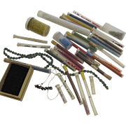 Vintage Glass Seed Beads in Glass Tubes Crafts and Wooden Beads