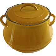 Vintage Belgium Yellow Enamel Descoware Bean Pot and Lid