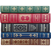Vintage Five (5) Franklin Leather Tooled Books