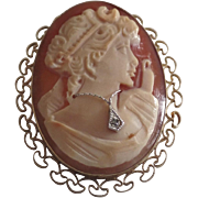 Vintage Cameo Woman Brooch Pin Necklace