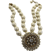 Vintage 1980's Chanel Necklace Gripoix Rhinestones