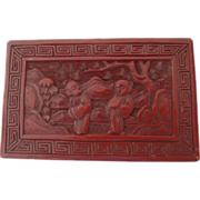 Vintage Chinese Cinnabar Box Lid, Lid Only