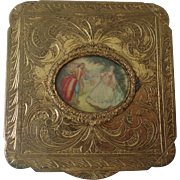 "Vintage Italian Italy Compact with Painted Scene 3"" Square"